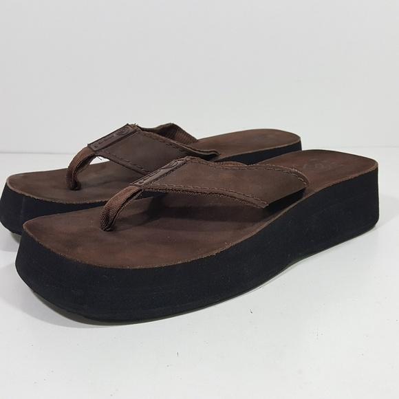 c074e1e66e36 Reef Women s Wedge Platform Sandals Brown Size 6 E.  M 5bda9ca49519962aae33036c